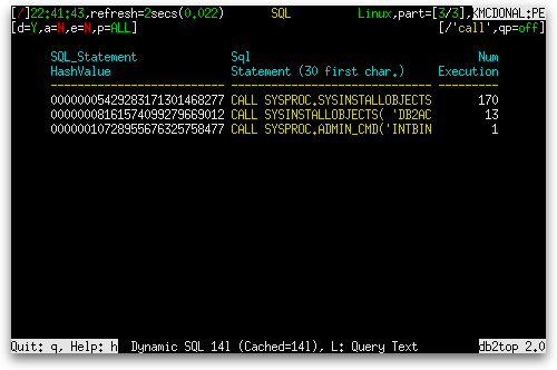 db2top Dynamic SQL screen with regexp /call