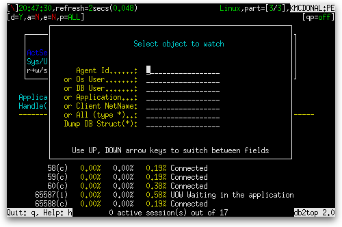 db2top Watch dialog box
