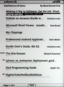 Kindle 2.5 adding to collection from home screen