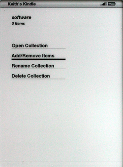 Kindle 2.5 collection screen