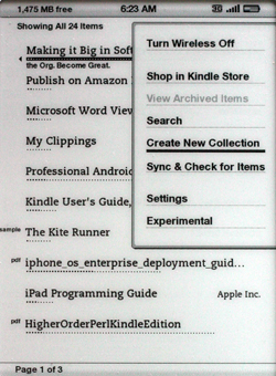 Kindle 2.5 Create New Collection menu item