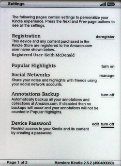 Kindle 2.5 turning off device password