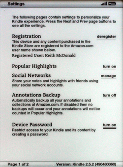 Kindle 2.5 turning on device password