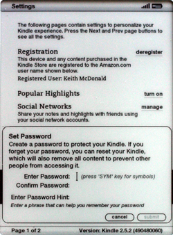 Kindle 2.5 Set Password prompt