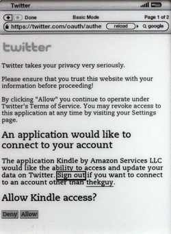 Kindle 2.5 allowing Twitter to connect to your account