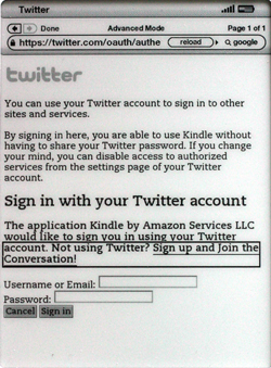 Kindle 2.5 sign in to Twitter