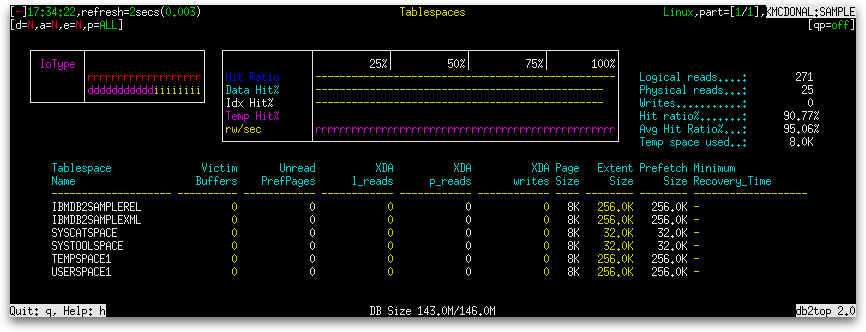 db2top Tablespaces Screen (Part 1) - The K Guy